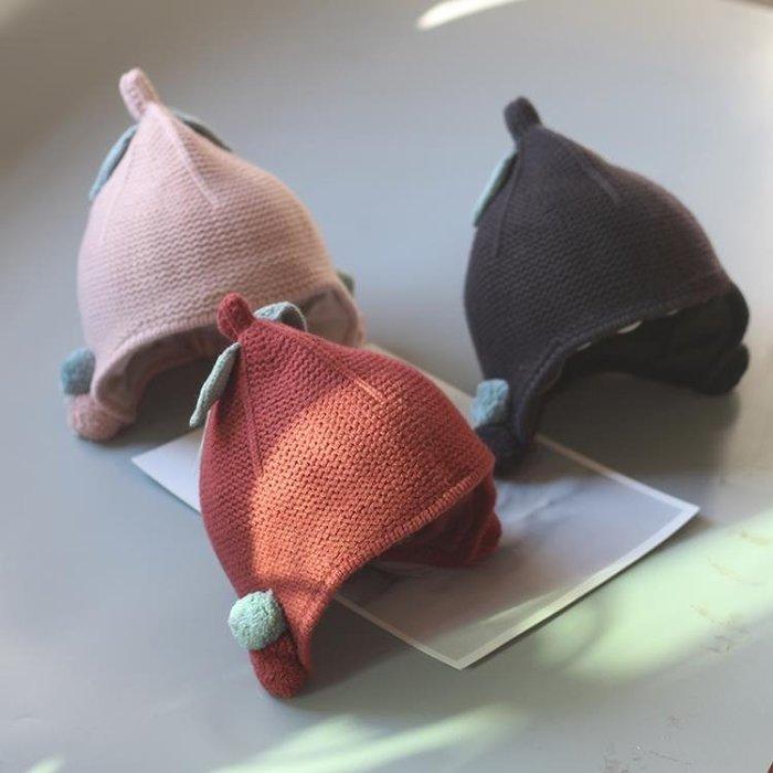 嬰兒帽子 秋冬款兒童帽子6-12個月女童護耳帽嬰兒毛線帽小孩冬季寶寶針織帽