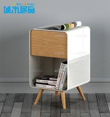 『格倫雅』北歐床頭櫃簡約烤漆實木床邊櫃創意設計鐵藝床頭櫃小儲物櫃^1750