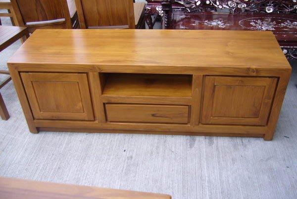 宏品二手家具 便宜家傢俱賣場 零碼P835原木柚木電視櫃 實木平面矮櫃 高低TV櫃 客廳沙發桌椅拍賣