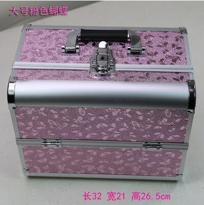 【優上】手提大號化妝箱專業化妝師紋繡工具箱彩妝箱大號粉色蝴蝶