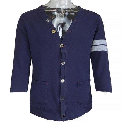 日本品牌ATTENTION深藍色條紋特殊扣子造型口袋7分袖外套 M號