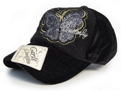 【Girls Cbunglim 甜美風格☆K684-1☆韓製蝴蝶絨面棒球帽 -黑色款 帽子專賣店