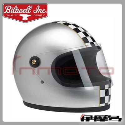 伊摩多※美國 Biltwell Gringo S 有鏡片版 復古 全罩式 安全帽 樂高帽 LE Checker 格紋銀