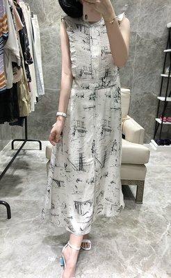 《巴黎拜金女》高端斜紋綢重磅真絲連衣裙荷葉邊印花氣質收腰長裙無袖