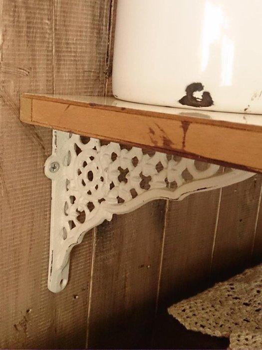 【日花里鐵製品】 日本進口自然 鄉村 雜貨風 鑄鐵支架 層板架(1組2個) 格子 勾花 2款