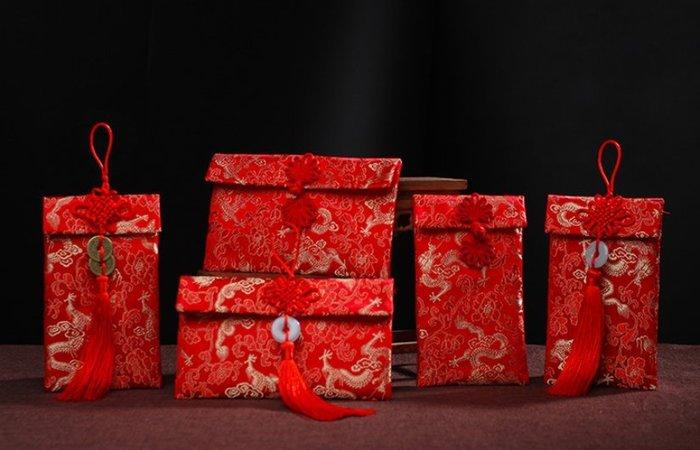 高級紅包 刺繡紅包袋 * 中國結 孔雀結 盤扣 玉環 銅錢 絲綢緞 壓歲錢 婚禮小物 布紅包 布藝紅包 婚禮禮物