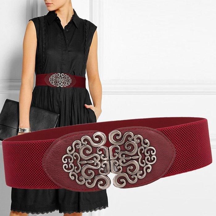 低價促銷 腰封 腰帶 腰鏈 快速出貨 6cm民族風裝飾銀扣腰帶女寬彈力腰封配連衣裙子腰帶百搭黑色皮帶