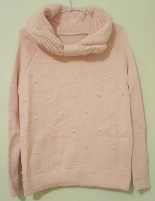 Box 全新- 粉色蝴蝶結設計翻領珠珠甜美長袖毛衣