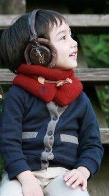 ~頡比小舖~TN62 紅色 脖圍 加厚 毛線 牛角 男童女童中性 用 保暖 防寒