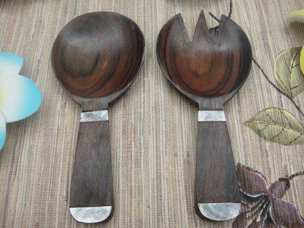 Y【永晴峇里島】巴里島風貝殼深色木雕匙叉餐具,居家,民宿,飯店都好用-餐具3
