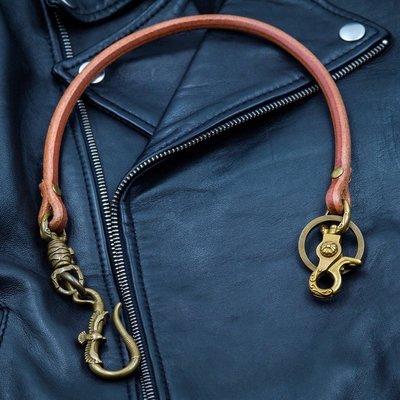 造夢師 手工製作  阿美咔嘰 復古 養牛 純黃銅 飛鷹鉤 牛皮皮繩財布鏈 鑰匙鏈 褲鏈 腰鍊