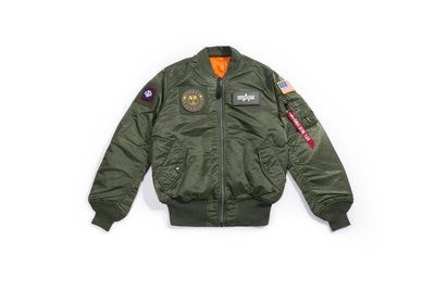 【YOYOGI PLUS】ALPHA MA-1 FLEX SLIM FLIGHT JACKET 徽章貼布 合身版 (綠)