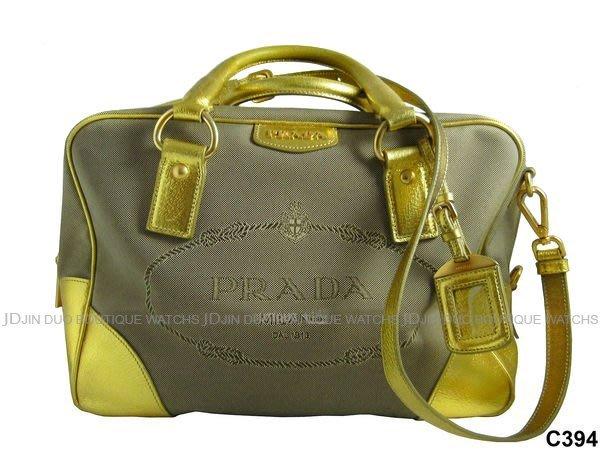 金鐸精品~C394 PRADA 家徽大LOGO駝色緹花織布 特殊金色背帶 波士頓包 手提包 肩背包