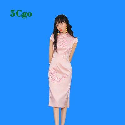 5Cgo【鴿樓】新式蚀骨旗袍改良版年轻款少女甜美粉色气质优雅连衣裙复古中国风 597035232012
