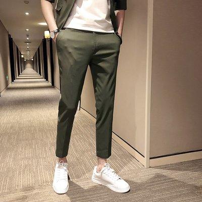 頹廢元素 - 純色公子哥 型男九分 西裝褲 三色