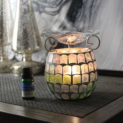 熱銷#地中海蘭綠香薰馬賽克玻璃燭臺放松冥想香氛浪漫燭光表白裝飾擺設#燭臺#裝飾
