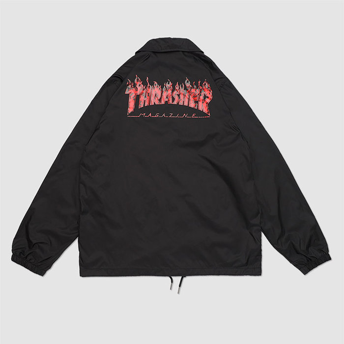 【QUEST】THRASHER 日線 RED GHOST FLAME COACH JACKET - 紅鬼火教練外套