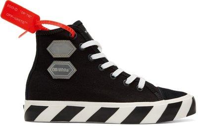 ~The Black Dan Moccani~ [新款] OFF-WHITE Vulcanized 貼布 高筒帆布鞋