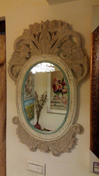 仿古 仿舊 實木雕刻橢圓型壁鏡掛鏡 印度進口