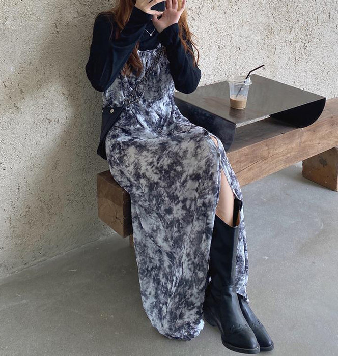 SeyeS NYLON古著時尚韓系細肩帶手染紮染開扣洋裝