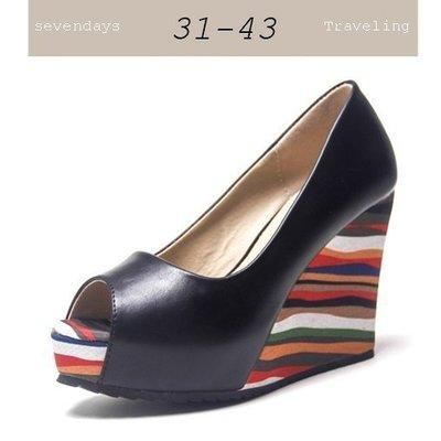 大尺碼女鞋小尺碼女鞋素面百搭舒適魚口彩色紋防水台厚底楔型鞋涼鞋女鞋兩色黑色(31-43)現貨#七日旅行