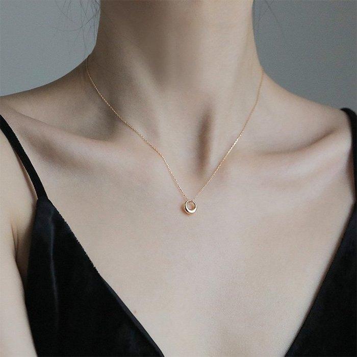 【極簡時尚】幾何圓圈項鍊簡約鎖骨鏈氣質冷淡風項鍊