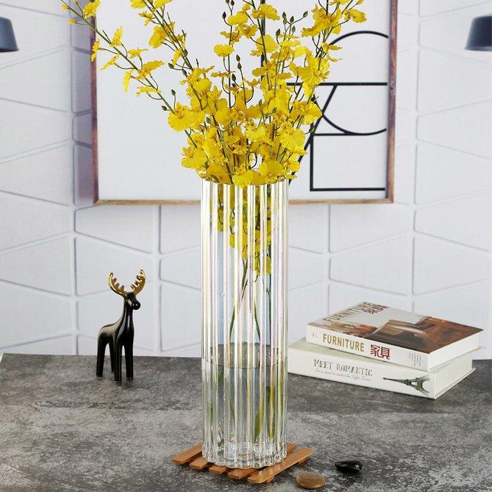 #創意 裝飾品 居家簡約創意珠光貝母色花瓶擺件玻璃客廳裝飾透明彩色花器富貴竹插花