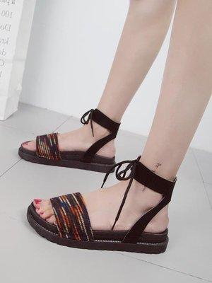 仙女的鞋中跟軟妹涼鞋女學生夏2018新款百搭韓版女鞋子系帶羅馬鞋