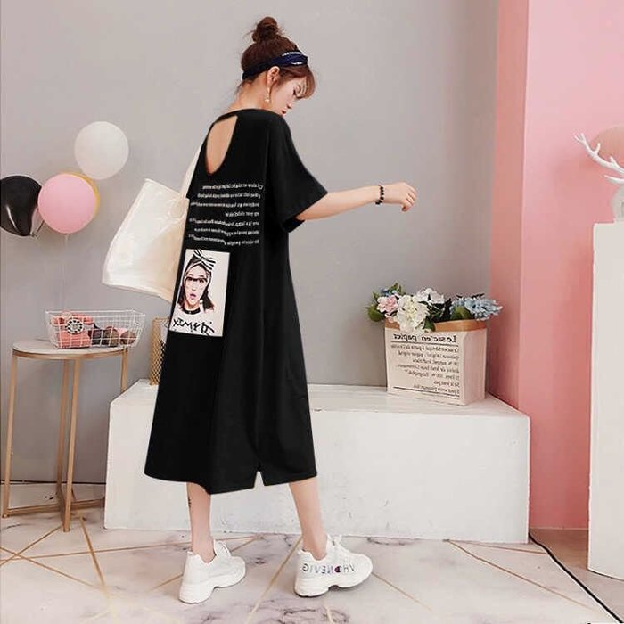 創意夏季女裝 夏季韓版學生性感露背連衣裙寬松大碼女裝短袖純棉長裙過膝T恤裙