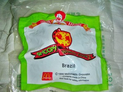 L.(企業寶寶玩偶娃娃)全新未拆封1999年麥當勞SNOOPY史努比環遊世界2-巴西造型公仔已有18年!