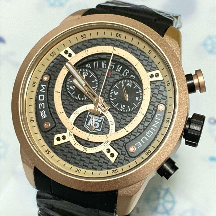 香港鐘錶展參展力作 T5 美國潮牌 多層次個性大錶徑 真三眼三環  玫瑰金土耳其綠 IP電鍍不銹鋼帶石英錶【S & C】
