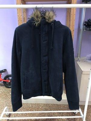A&F 男 麋鹿 羔羊毛連帽棉質厚外套 海軍藍 尺寸M / XL 全新 現貨