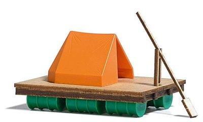 傑仲 (有發票) 博蘭  BUSCH 造景組 Wooden Raft with Tent 1564 HO