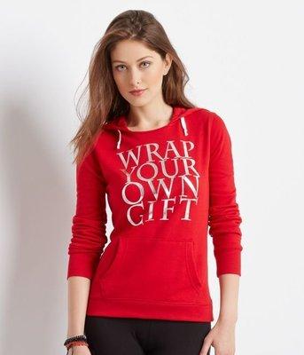 @小凸媽媽@AEROPOSTALE【全新真品現貨在美L號】AERO Wrap gift 女生薄刷毛亮眼連帽上衣