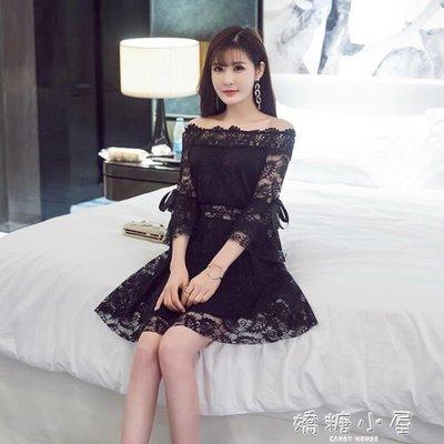 洋裝初戀少女心仙女蕾絲洋裝性感一字領花邊收腰喇叭袖顯瘦大擺裙子