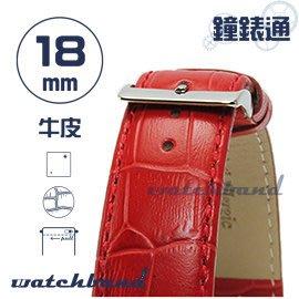 【鐘錶通】C1.21I《亮彩系列-手拉錶耳》鱷魚格紋-18mm 烈焰紅┝手錶錶帶/皮帶/牛皮錶帶┥
