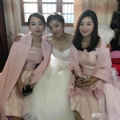 韓版結婚紅色伴娘披肩姐妹團禮服圍巾兩用女冬季加厚保暖百搭珍珠