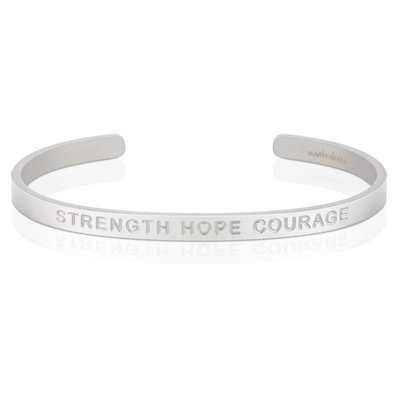 MANTRABAND 美國悄悄話手環 Strength Hope Courage 力量希望勇氣 消光銀 寬版 男款