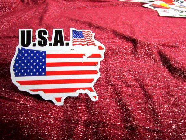 【衝浪小胖】美國旗地圖抗UV、防水登機箱貼紙/USA/世界多國款可收集和訂製