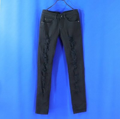 ※衣網情深※女【Best Jeans】黑色 破壞款 低腰 彈力牛仔長褲 S號8463