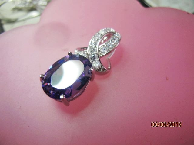 [庫存促銷品]大顆天然A貨紫水晶鑽石切面純銀豪華造型項鍊墜