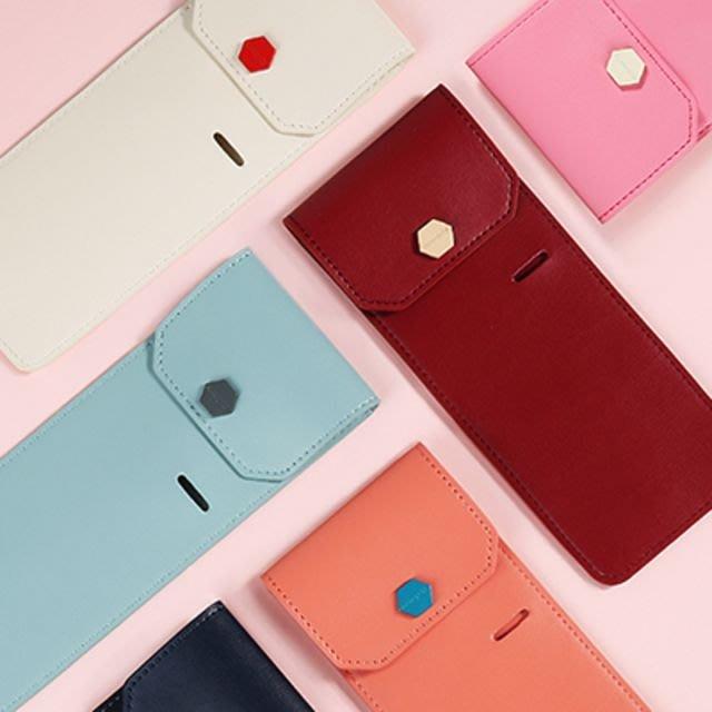 ♀高麗妹♀韓國 Monopoly WITH BAND PENCASE 綁帶皮革筆袋  / 綁於筆記本上(粉紅色)預購