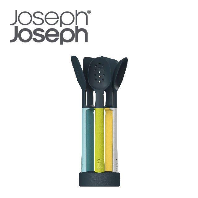 Joseph Joseph 英國創意餐廚 不沾桌矽膠料理鏟匙組 (附座-自然色)