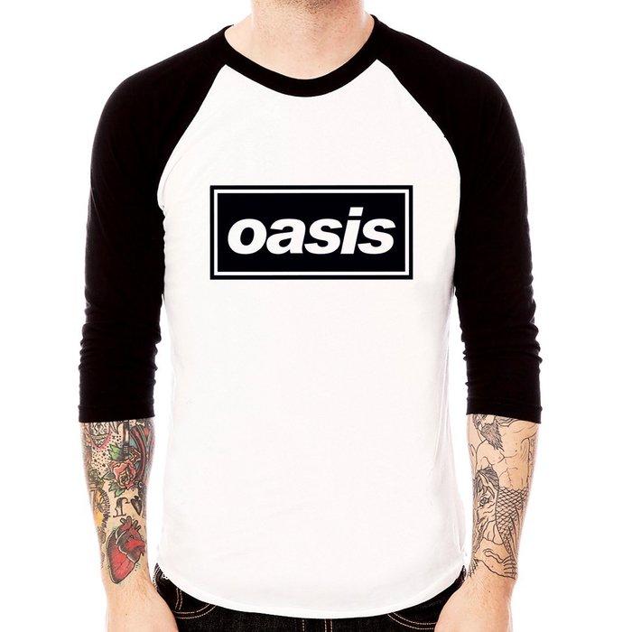 Oasis Logo-black七分袖T恤 白/黑 灰/黑 2色 棒球綠洲英國搖滾龐克團t樂團班服