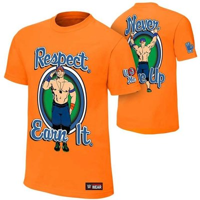 WWE摔角衣服 John Cena Respect. Earn It 約翰賽納尊敬得到它橘色短袖T恤 買三免運