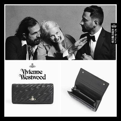 ♔MissyJ英國代購♥ Vivienne Westwood 英倫土星龐克品牌黑色閃電車縫柔軟霧面全牛皮革真皮夾女用長夾