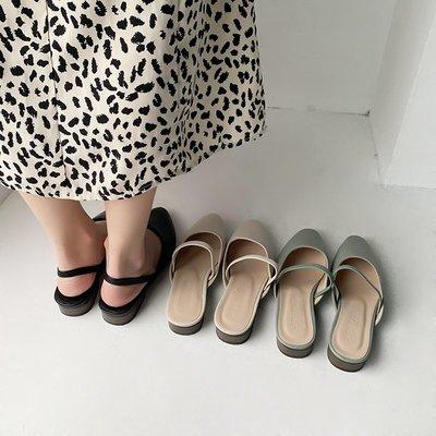 [日韓店購購]包頭女拖鞋2019新款外穿夏季時尚百搭網紅粗跟防滑半拖鞋穆勒鞋女