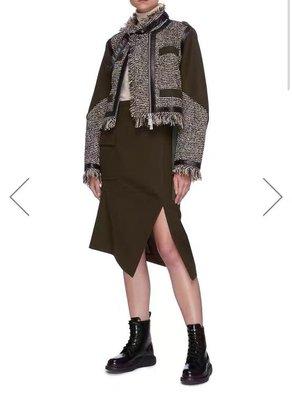 Sacai毛呢半身裙窄 FW20秋冬開叉半身長裙 賣場2件9折3件8折特價無折