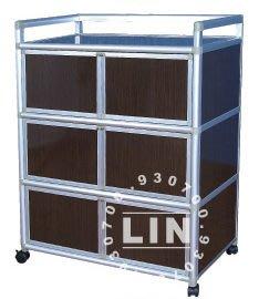 【品特優家具倉儲】◎P104-06鋁架廚房置物架得意3尺黑桃單箱T0026