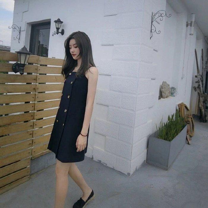 (品質保證)名媛氣質女裝雙排扣一字領露肩洋裝連身裙吊帶裙連衣裙